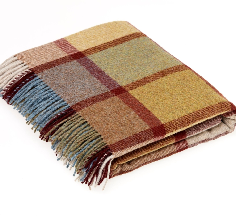 BRONTE by Moon Country House Check Autumn Throw in supersoft Merino Lambswo