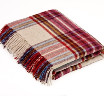 BRONTE by Moon Country House Check Claret & Beige Throw in supersoft Merino Lambswool