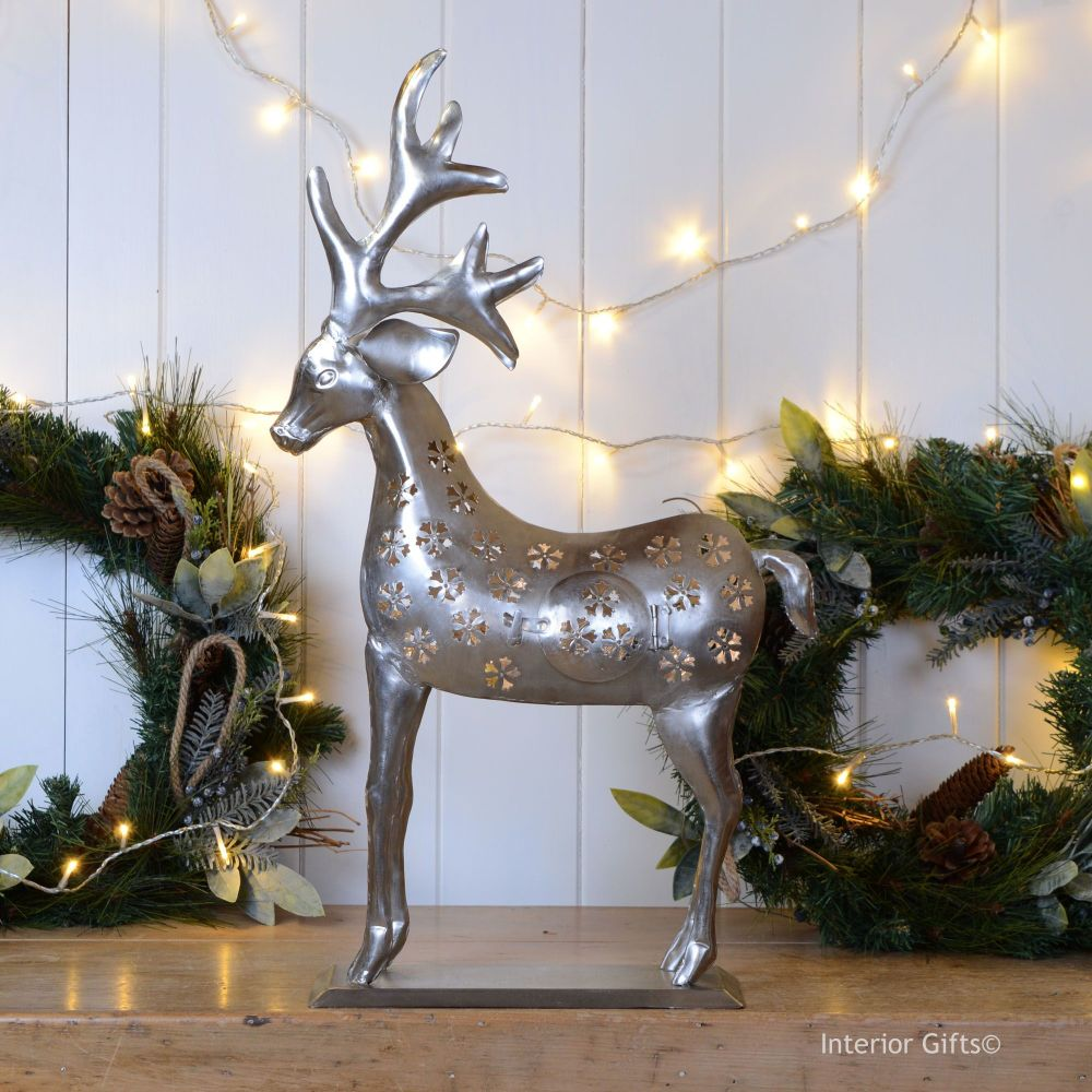 Stunning Large Reindeer Christmas Lantern - Nickel