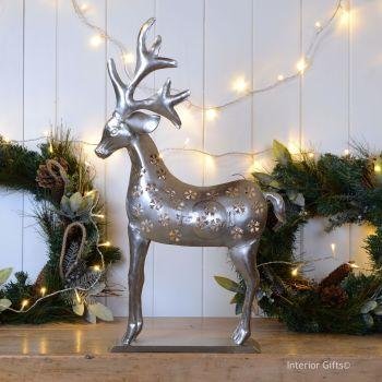 Stunning Large Reindeer Christmas Lantern - Nickel 67cm