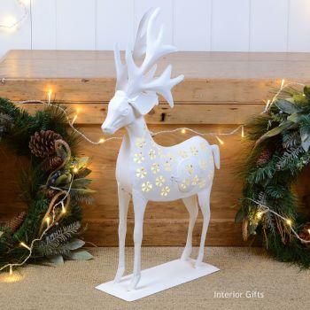 Stunning Large Reindeer Christmas Lantern - White 67 cm