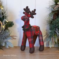 Tartan Reindeer Christmas Decoration - Red 32 cm