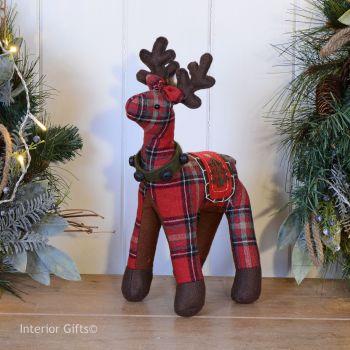 Tartan Reindeer Christmas Decoration - Red 32 cm