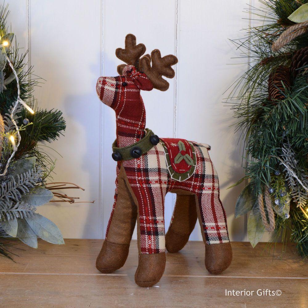 Tartan Reindeer Christmas Decoration - Red & White 32 cm