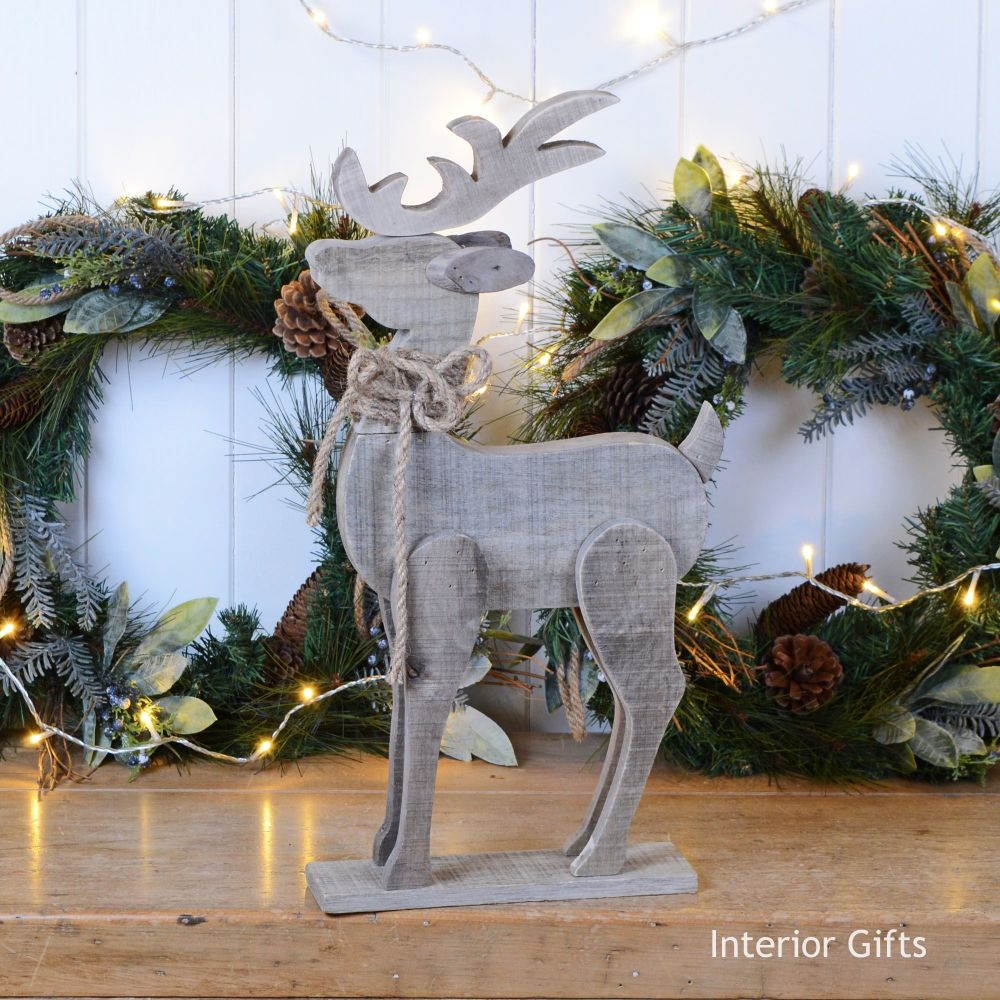 Stunning Large Wooden Rustic Reindeer