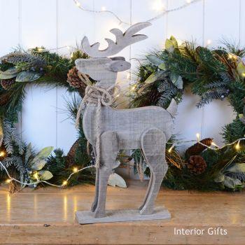 Stunning Large Wooden Rustic Reindeer 53 cm