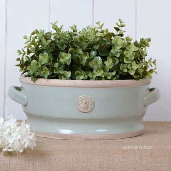 Kew Low Footed Bowl with Handles Chartwell Green - Royal Botanic Gardens Plant Pot - Large