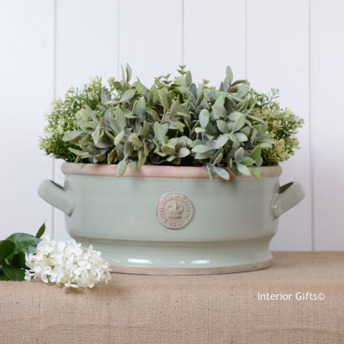 Kew Low Footed Bowl with Handles Chartwell Green - Royal Botanic Gardens Pl