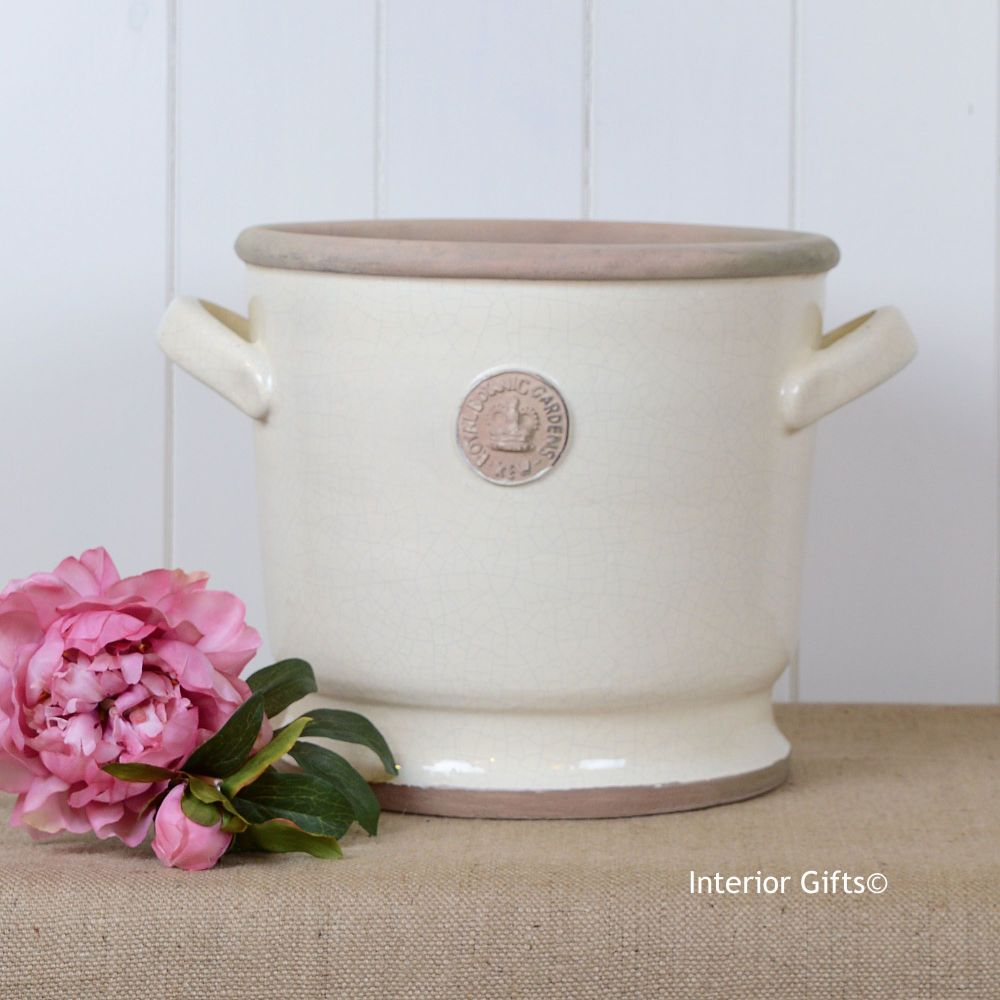 Kew Deep Planter with Handles Ivory Cream - Royal Botanic Gardens Plant Pot