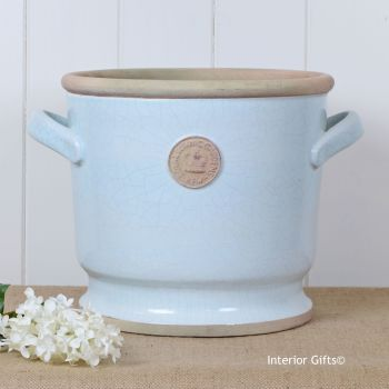 Kew Deep Planter with Handles Duck Egg Blue - Royal Botanic Gardens Plant Pot - 26.5 cm H
