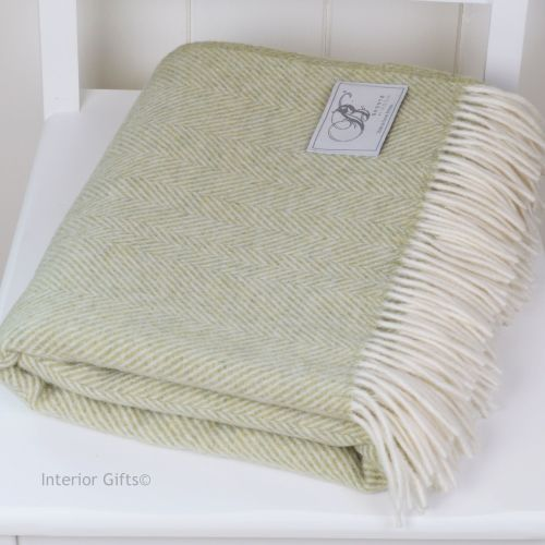 BRONTE by Moon Subtle Green Herringbone Throw in Supersoft Merino Lambswool