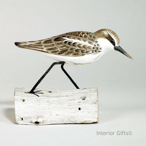 Archipelago Little Stint Running on Driftwood, Bird Wood Carving