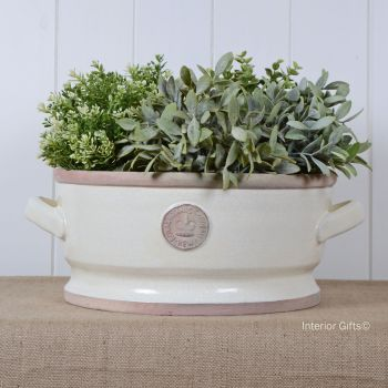 Kew Low Bowl with Handles Ivory Cream - Royal Botanic Gardens Plant Pot - Large