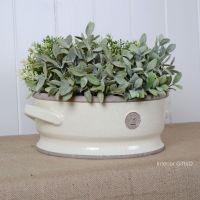 Kew Low Bowl with Handles Ivory Cream - Royal Botanic Gardens Plant Pot - Small