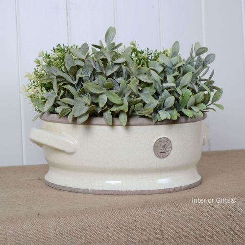 Kew Low Footed Bowl with Handles Ivory Cream - Royal Botanic Gardens Plant