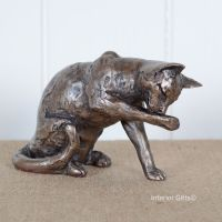 Muffin Cat Washing or Grooming Frith Bronze Sculpture by Paul Jenkins