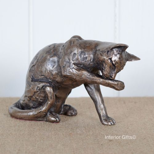 'Muffin' Cat Grooming Frith Bronze Sculpture by Paul Jenkins