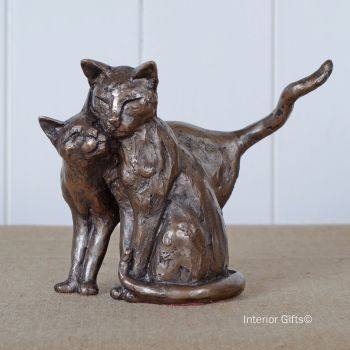 Making Friends Cat Frith Bronze Sculpture by Paul Jenkins