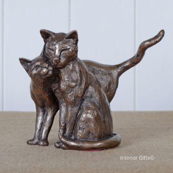 Making Friends Cat Frith Bronze Sculpture by Paul Jenkins