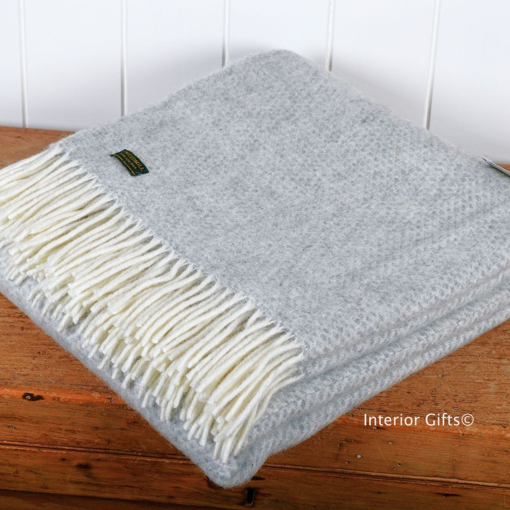 Tweedmill Silver Grey Honeycombe Weave Pure New Wool Throw