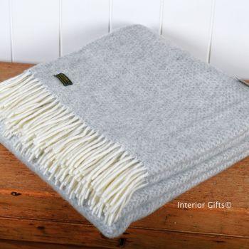 Tweedmill Silver Grey Honeycomb Weave Pure New Wool Throw Blanket