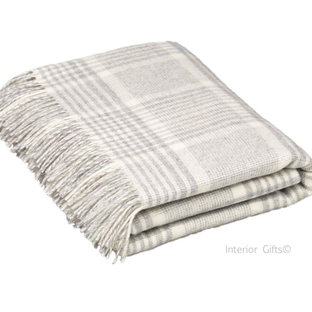 BRONTE by Moon Prince of Wales Check Silver Grey Throw in supersoft Merino