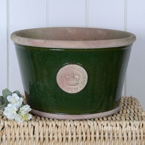 Kew Low Planter Pot Country Green - Royal Botanic Gardens Plant Pot - Large