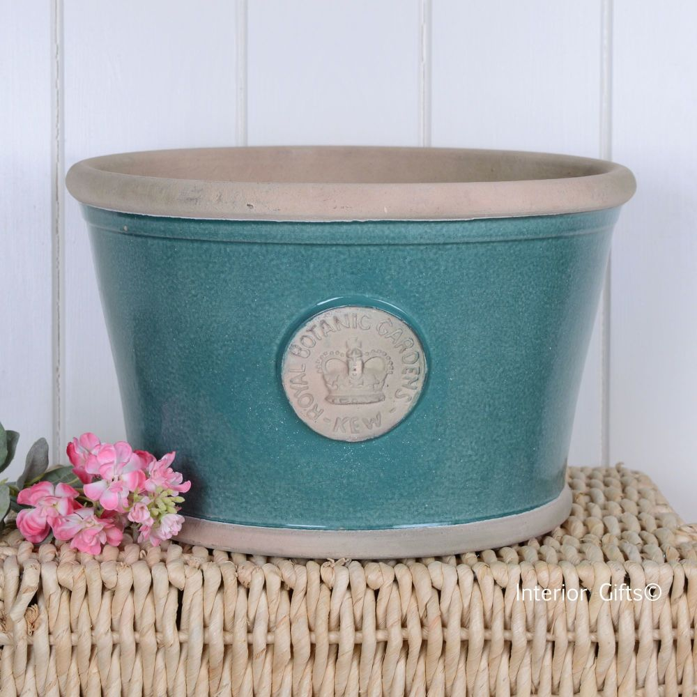 Kew Low Planter Pot Turquoise - Royal Botanic Gardens Plant Pot - Large