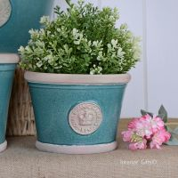 Kew Low Planter Pot Turquoise - Royal Botanic Gardens Plant Pot - Small