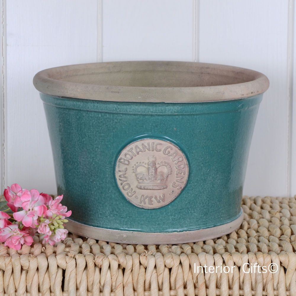 Kew Low Planter Pot Turquoise Cream - Royal Botanic Gardens Plant Pot - Med