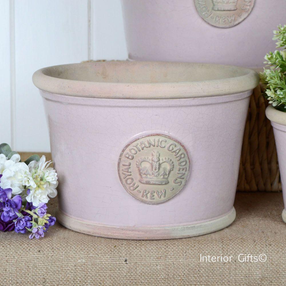 Kew Low Planter Pot Powder Pink - Royal Botanic Gardens Plant Pot - Medium
