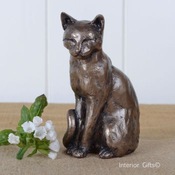 Willard Sitting Cat Frith Bronze Sculpture by Paul Jenkins