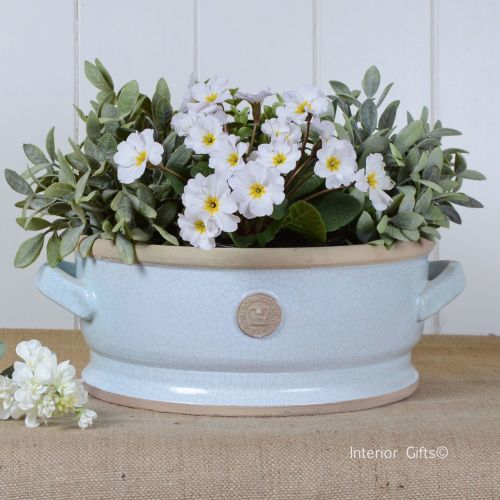 Kew Low Footed Bowl with Handles Duck Egg Blue - Royal Botanic Gardens Plan
