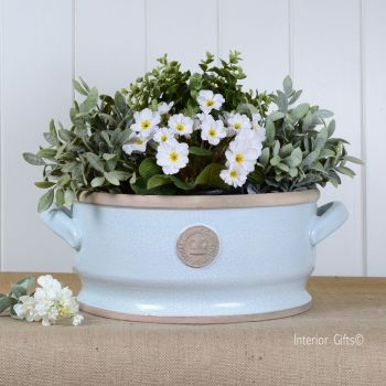 Kew Low Bowl with Handles Duck Egg Blue - Royal Botanic Gardens Plant Pot - Small