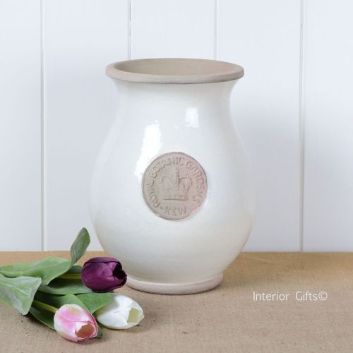 Kew Royal Botanic Gardens Shaped Vase in Ivory Cream - Small 27cm H