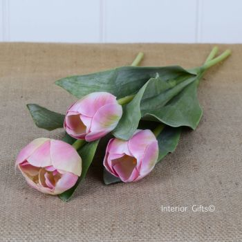 Faux Silk Tulips in Light Blush Pink - 3 Stems 36 cm