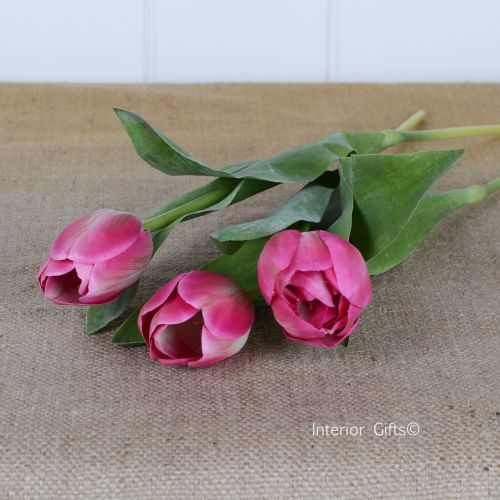 Faux Silk Tulips in Mid Pink - 3 Stems