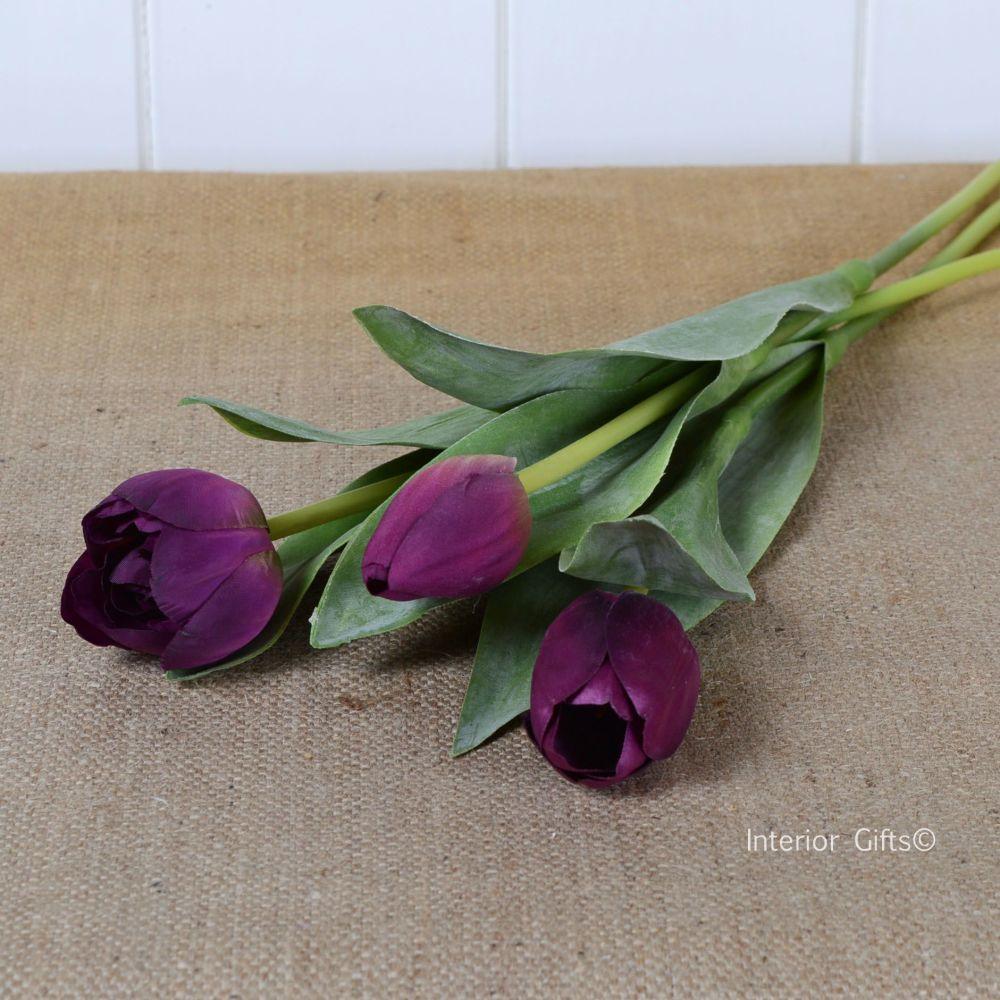 Faux Silk Tulips in Wine - 3 Stems