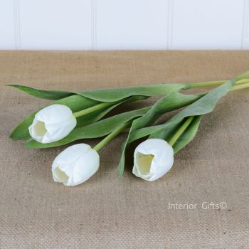 Faux Silk Tulips in White - 3 Stems 36 cm
