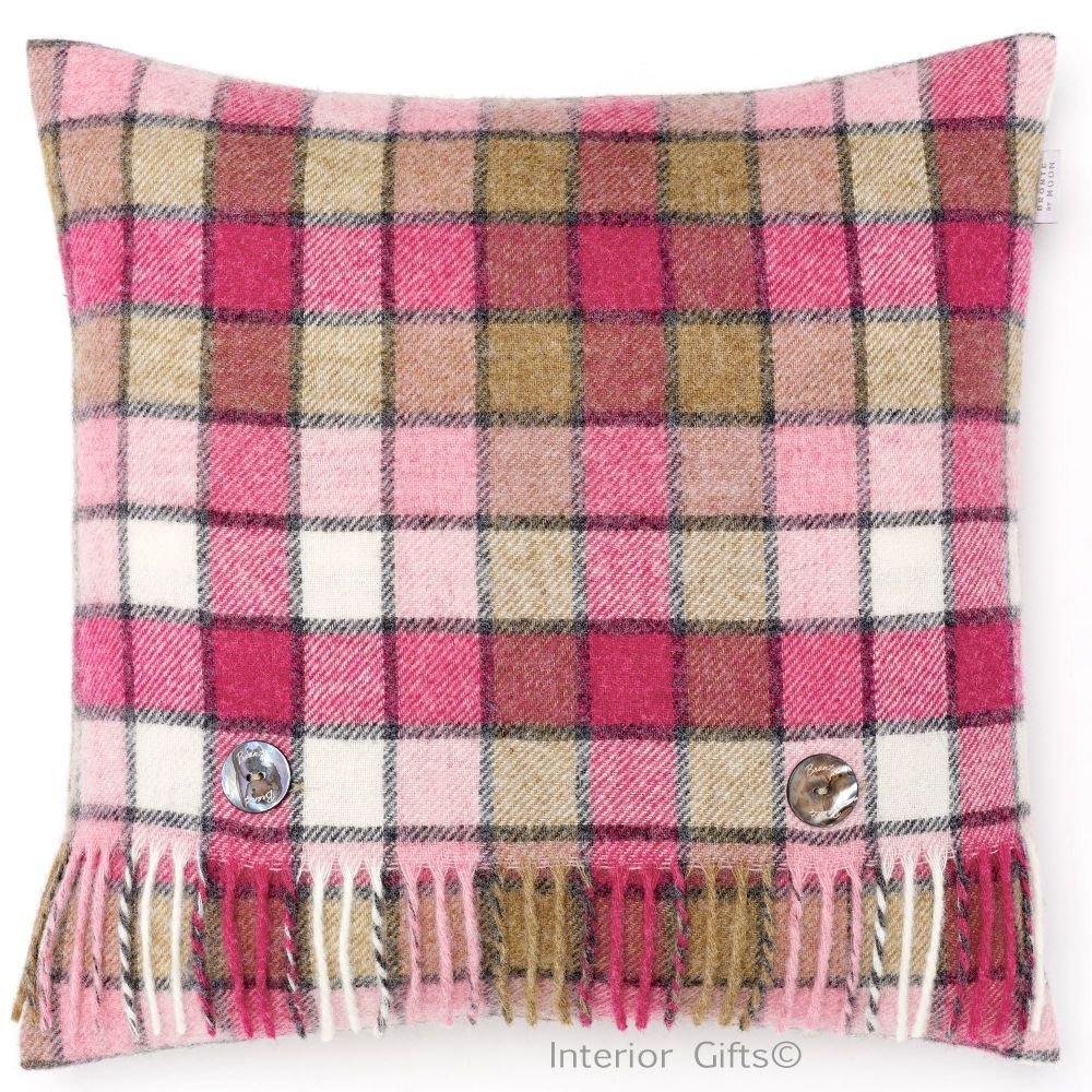 BRONTE by Moon Cushion - Pink Berlin Check Shetland Wool