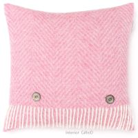BRONTE by Moon Cushion - Pale Pink Herringbone Shetland Wool