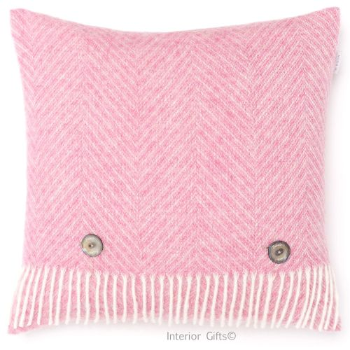 BRONTE by Moon Cushion - Pink Herringbone Shetland Wool