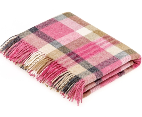 BRONTE by Moon Melbourne Pink Check Throw Pure New Shetland Wool