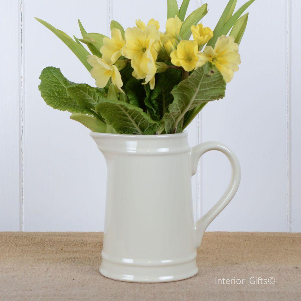 Ceramic Small Jug in Ivory Cream - Drinks or Flower Vase