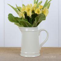 Ceramic Small Jug in Ivory Cream - Drinks or Flower Vase 15 cm H