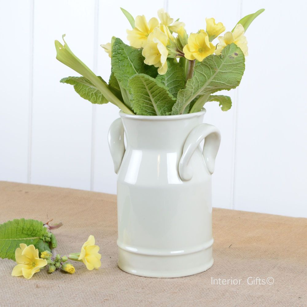 Ceramic Small Decorative Milk Churn in Ivory Cream - Flower Vase