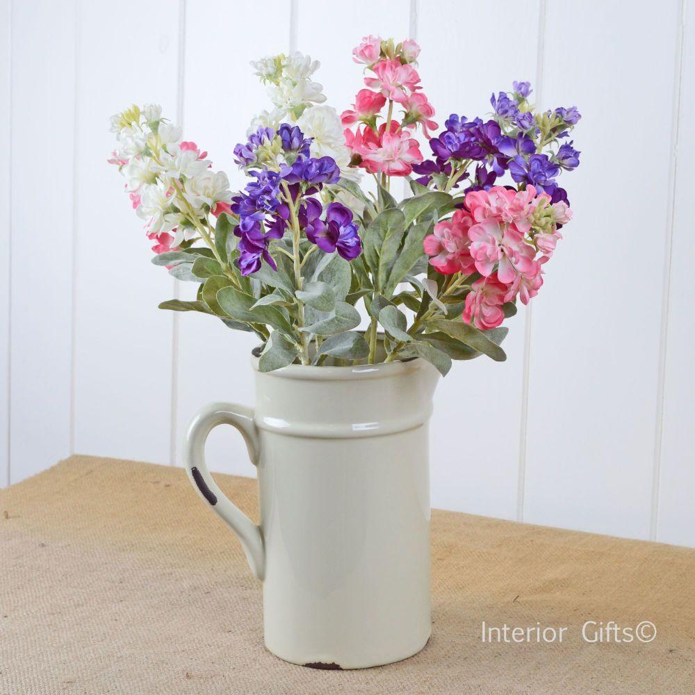 Ceramic Jug in Cream - Drinks or Flower Vase 20 cm H