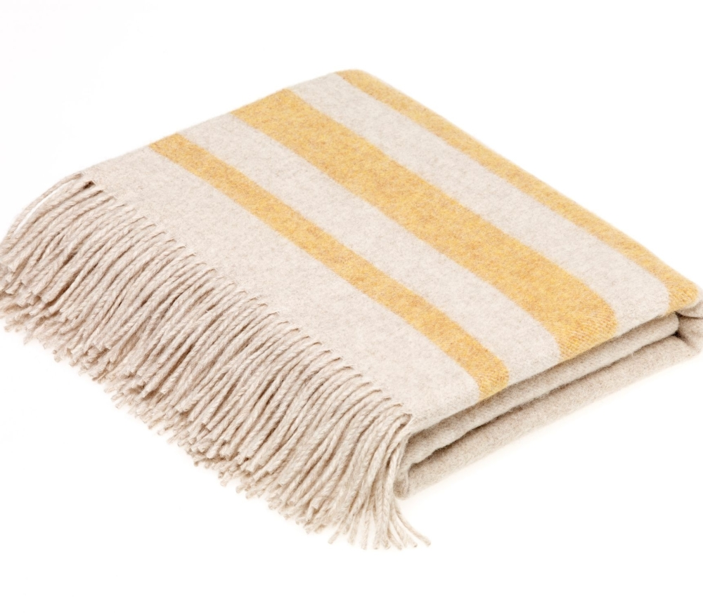 BRONTE by Moon Seville Cream with Gold Stripe Throw Luxury Wool Mix