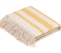 BRONTE by Moon Seville Creamy Beige with Yellow Gold Stripe Throw Luxury Wool Mix