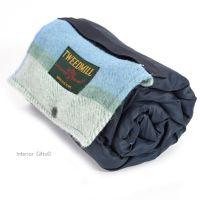 WATERPROOF Backed Picnic Rug COMPACT WALKER Multi Sea Cream Wool Small